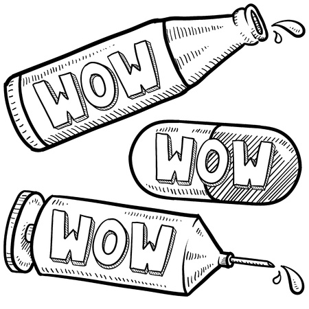 Doodle style bottle, syringe and pharmaceutical sketch with wow text message on them   format