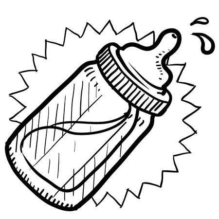 nursing bottle: Doodle style baby bottle sketch with milk or formula in format