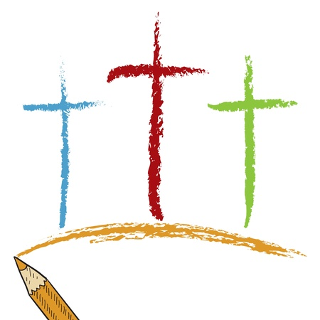crucified: Doodle style Christian Calvary crosses sketch in format  Looks like colored pencil  Useful for Easter designs   Stock Photo