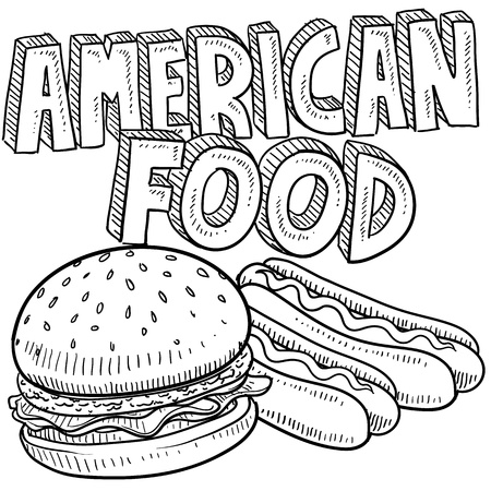 ballpark: Doodle style American food sketch including hamburger, hot dog, and text message