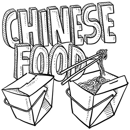 lo mein: Doodle style Chinese food sketch, including text message, takeout boxes, chopsticks and noodles  format   Stock Photo