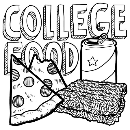 ramen: Doodle style college food illustration with pizza, ramen noodles, and beer can in format   Stock Photo