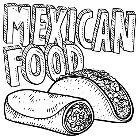 Doodle style Mexican food sketch, including text message, burrito, and tacos in format