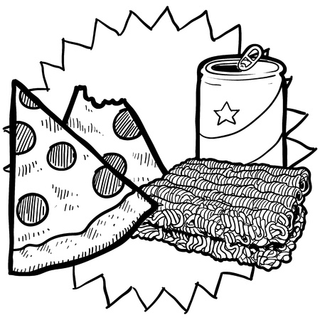 college dorm: Doodle style college food illustration in format  Includes beer or soda can, ramen noodles, and pizza   Stock Photo