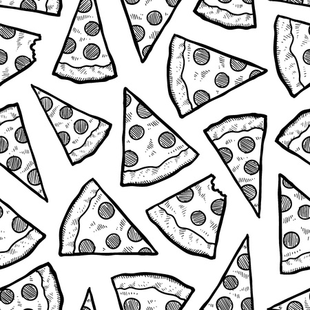pizza slice: Doodle style pizza slice seamless background