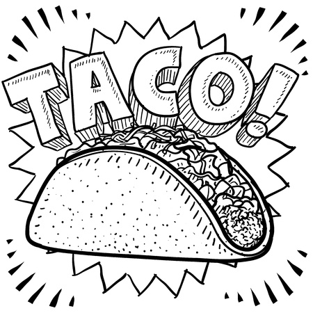 taco: Doodle style Mexican food taco sketch in format