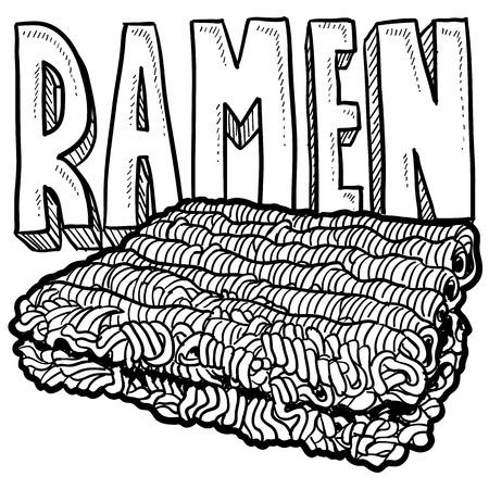 Doodle style ramen noodles college food illustration in format
