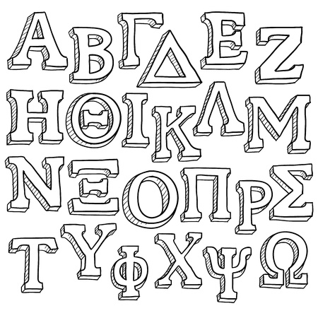 sorority: Doodle style Greek Alphabet useful for sorority and fraternity emblems and design projects  format   Stock Photo
