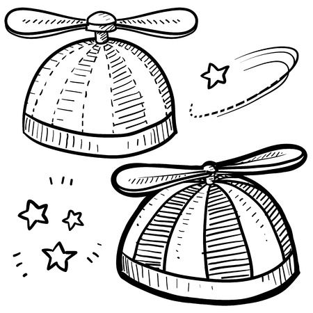 Doodle style beanie with propeller sketch in format