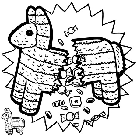 pinata: Doodle style pinata sketch with candy bursting from inside it  format