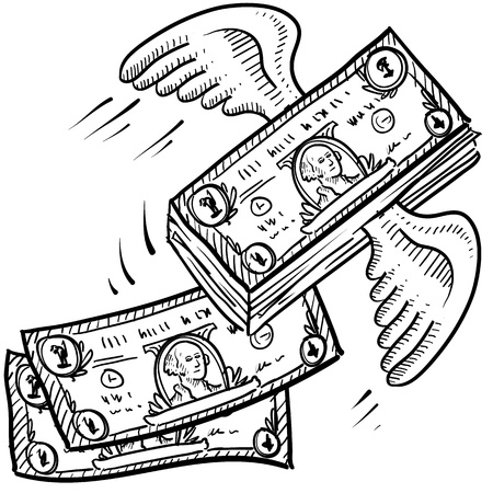 booming: Doodle style money taking off sketch  Indicates inflation, investment growth, or that business is booming  format