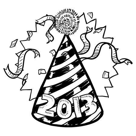 hat new year s eve: Doodle style New Year s Eve celebration sketch including party hat, confetti, and 2013 date marker  format