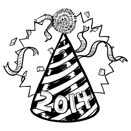 Doodle style New Year s Eve celebration sketch including party hat, confetti, and 2014 date marker  format   Vector