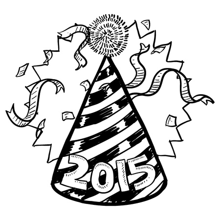 Doodle style New Year s Eve celebration sketch including party hat, confetti, and 2015 date marker  format