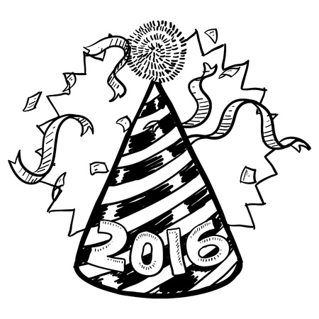 Doodle style New Year s Eve celebration sketch including party hat, confetti, and 2016 date marker  format   Stock Vector - 16929404