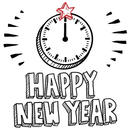 hat new year s eve: Doodle style Happy New Year sketch with illustrated clock striking midnight format