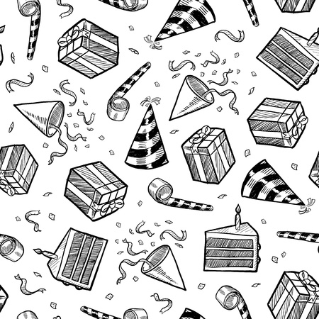 Doodle style party or celebration objects seamless background  Includes presents, noisemakers, party hats, and confetti