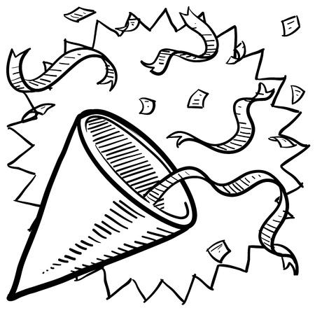 year        s: Stile celebrazione Doodle o schizzo partito tra cui noisemaker, coriandoli, e nastri in formato perfetto per la vigilia di Capodanno s