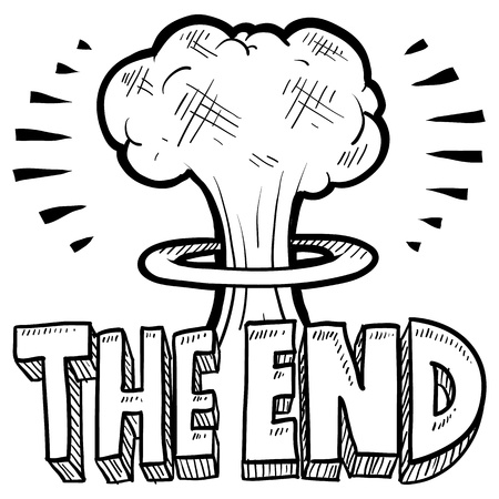 Doodle style The End sketch with cartoon mushroom cloud and text message in format  Illustration