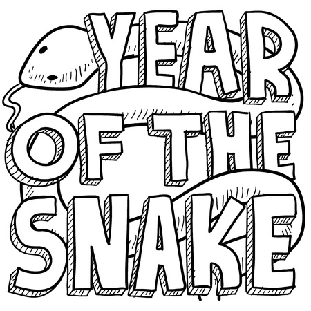 year of snake: Doodle style Chinese Year of the Snake illustration in vector format