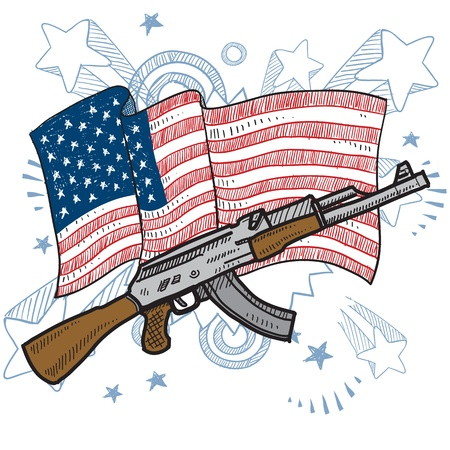 Doodle style America loves assault rifles and weapons illustration in vector format  Includes gun and American flag  illustration