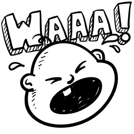 bambino che piange: Doodle stile pianto del bambino appena nato o illustrazione in formato vettoriale comprende testo e caricatura di bambino