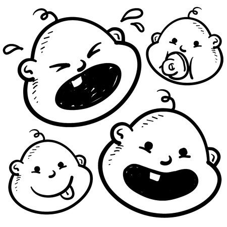 girl tongue: Doodle style infant or baby illustration in vector format  Includes several looks, crying, smiling, with pacifier, and with tongue sticking out  Stock Photo