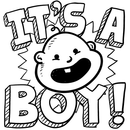 it s a boy: Doodle style it s a boy new baby illustration in vector format  Includes text and caricature of an infant  Stock Photo