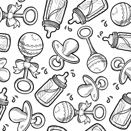 nursing mother: Doodle style baby and infant objects seamless vector background ready to be tiled  Includes rattle, pacifier, and bottle