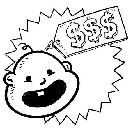 Doodle style babies are expensive illustration in vector format  Includes caricature of infant with a price tag and dollar signs Stock Illustration - 18476241