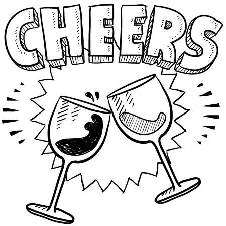 brindisi spumante: Doodle stile Saluti celebrazione illustrazione in formato vettoriale comprende testo e bicchieri di vino