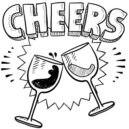 Doodle style Cheers celebration illustration in vector format  Includes text and wine glasses