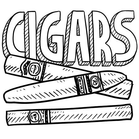 Cigarros Doodle estilo o ilustración en formato vectorial tabaco Foto de archivo - 18304211