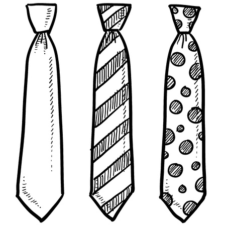 bow tie: Doodle style necktie assortment clothing illustration in vector format