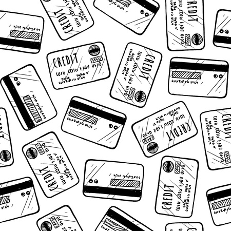 Doodle style credit card seamless vector background ready to be tiled  스톡 콘텐츠