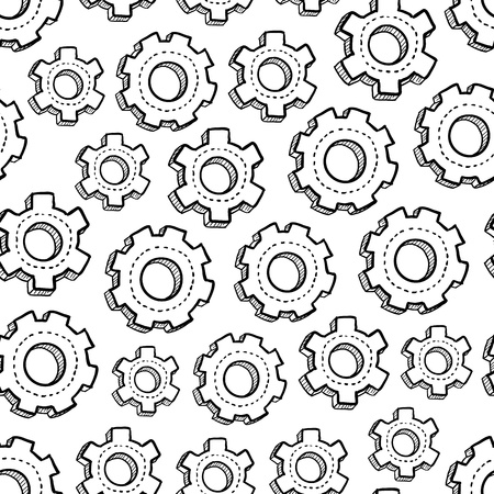 Doodle style gear and mechanical seamless vector background ready to be tiled  photo