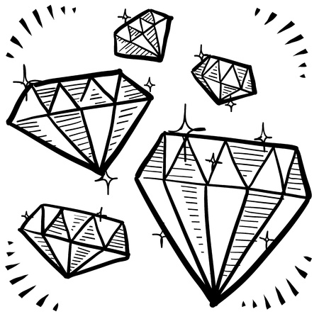 Doodle style diamond gem variety illustration in vector format Фото со стока - 18304209