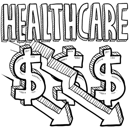 Doodle style health care costs decreasing illustration in vector format  Includes text, dollar signs, and down arrows