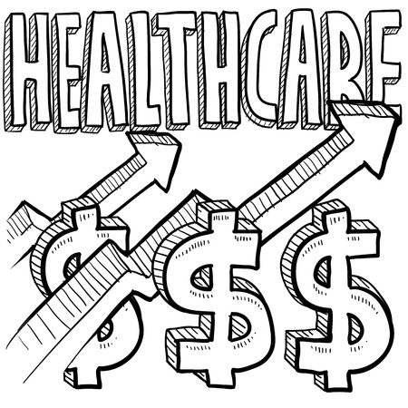 Doodle style health care costs increasing illustration in vector format  Includes text, dollar sign, and up arrows  illustration