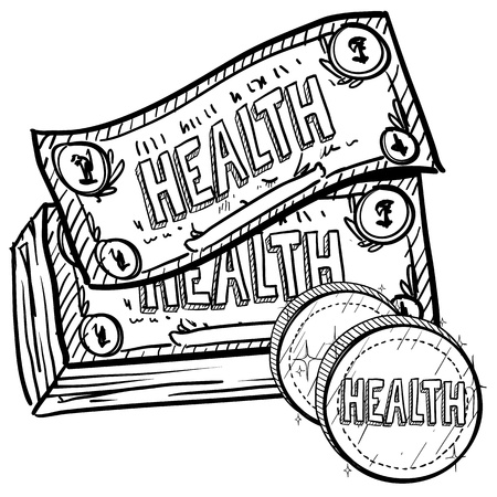 cost savings: Doodle style health care costs illustration in vector format  Includes text and currency