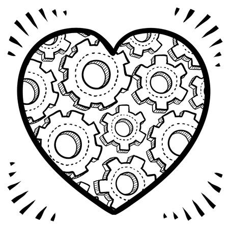 Doodle style workings of the human heart romance or relationship.  Shows gears inside a Valentine s Day icon
