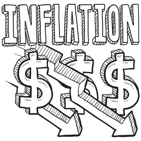 Doodle style deflation or inflation decreasing. Includes title text, along with down arrows and dollar signs Stock Photo - 18304447