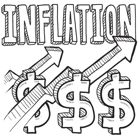 e new: Doodle style inflation is increasing icon in vector format  Includes text, up arrow, and dollar signs  Stock Photo