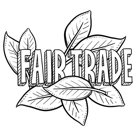 Doodle style fair trade food illustration in vector format  Includes text and leaves  illustration