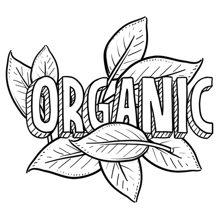 inspected: Doodle style organic food illustration. Includes title text and natural leaves