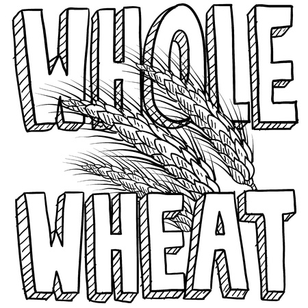 Doodle style whole wheat cereal or grain. Includes title text and sheaf of grain  photo