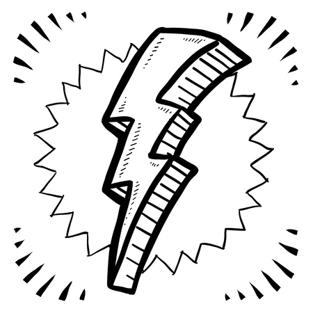Doodle style lightning bolt illustration in vector format  Could symbolize an idea, a crisis, or a discovery