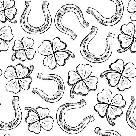 horseshoe: Doodle style lucky objects seamless. Includes four leaf clover and horseshoe  Stock Photo