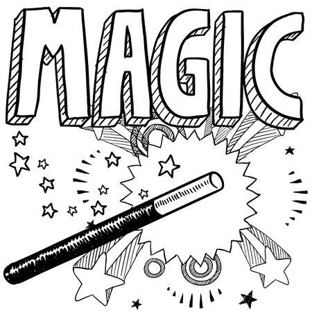 落書きスタイル マジック実行者イラスト ベクトルで書式設定が含まれています魔法の杖 写真素材