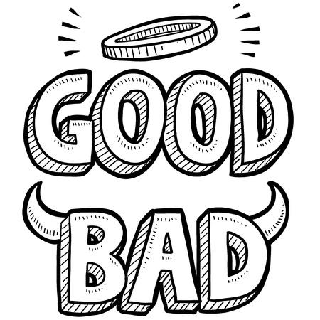 toma de decisiones: Ángel o demonio estilo Doodle ilustración bueno y lo malo en formato vectorial Foto de archivo